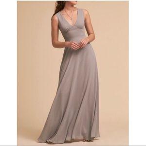 BHLDN Gray Capulet Empire Waist Bridesmaid Dress